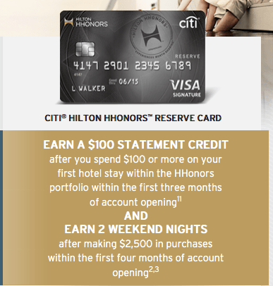Next up is the Citi Hilton HHonors Reserve thanks to that $100 statement credit.