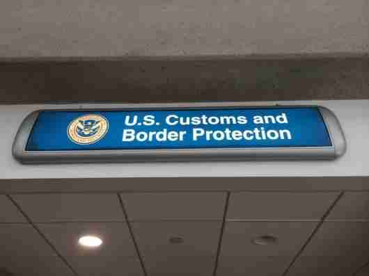 The sign over the CBP office at LAX, in Terminal 3