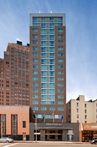 The Sheraton Tribeca New York is the tallest building on the 300 block of Canal Street
