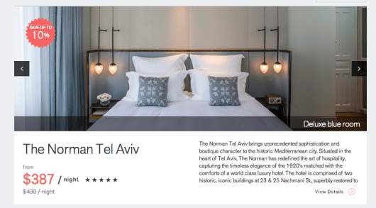 The highest discount I could get for my chosen itineraries at the Norman Tel Aviv was 10 percent
