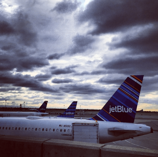 Dramatic skies for my early morning flight out of JFK on JetBlue's A321