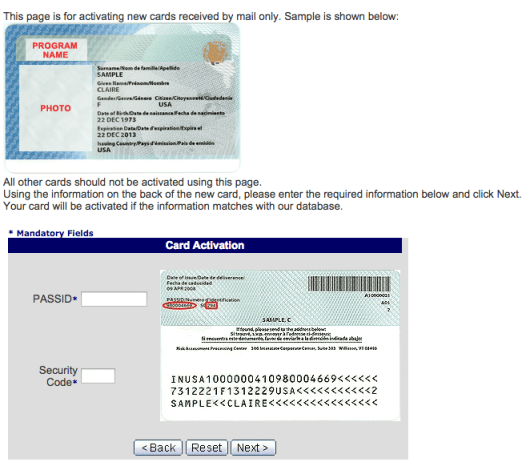 The GOES site's visual instructions for activating your Global Entry card