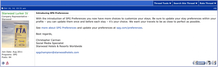 """SPG has four """"lurkers"""" on FlyerTalk that not only post announcements but also will answer your questions."""