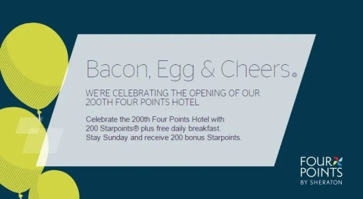 Get free breakfast and 200 Starpoints at the Four Points by Sheraton