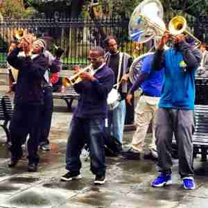Street musicians celebrating the new year in New Orleans