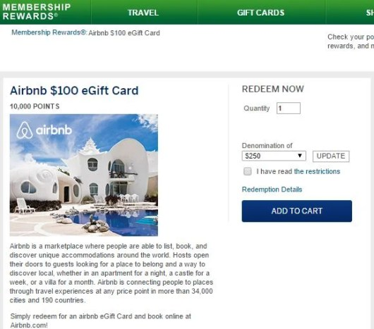You can buy Airbnb gift cards in denominations of $100 or $250