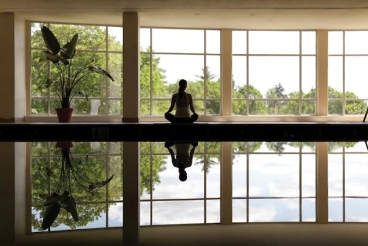 Poolside yoga at Massachusetts' Canyon Ranch at Lenox