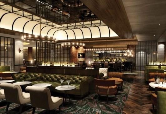 A rendering of the Hilton London Bankside's planned bar-lounge by Dexter Moren Associates.
