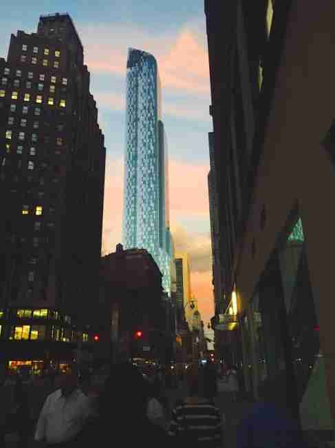 The Park Hyatt New York, glimpsed from 5th Avenue and 57th Street in Midtown Manhattan.