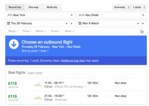 JFK AUH Google FLights