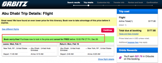 Book via Orbitz to earn Orbucks and have a risk free cancellation