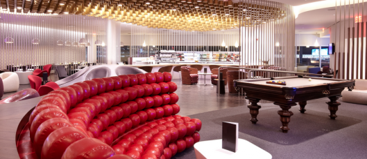 The swanky Virgin Atlantic Clubhouse at JFK gives you numerous amenities, including a pool table!