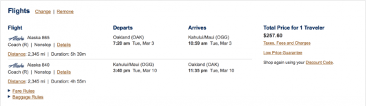 Fly from Oakland to Maui for $257 round-trip.