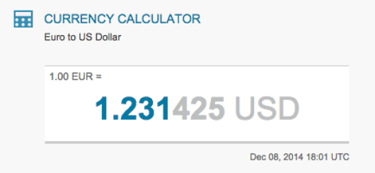 Today's euro-dollar exchange rate, according to X-Rates.com