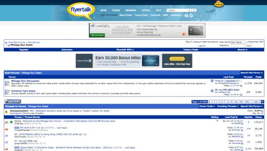 Mileage Run Deals forums on FlyerTalk