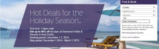 Save 50% on Starwood Asia Pacific properties