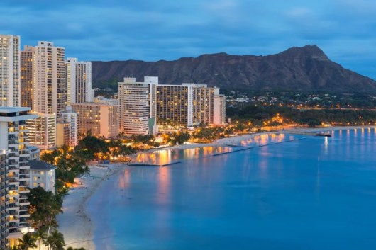 Waikiki Beach in Honolulu, Oahu, Hawaii throws a big party for New Year's (Image courtesy of Shutterstock)
