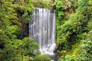 Korokoro Falls along the Waikarekoana Great Walk on New Zealand