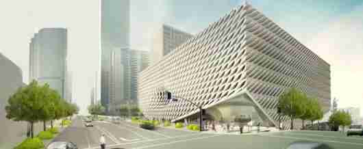 A rendering of the latticed facade of LA