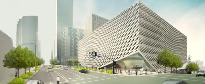 A rendering of the latticed facade of LA's new Broad Museum.