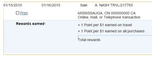 As you can see, I got double points for travel on my A Nash Travel Agency payment for my hotel in Havana