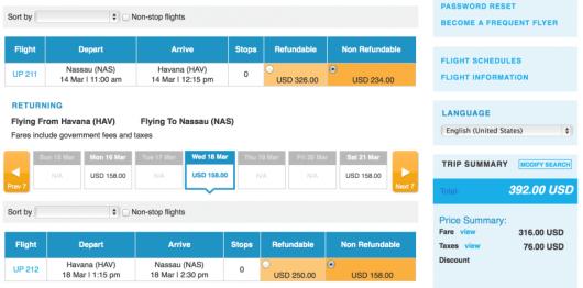 You can fly Nassau to Havana