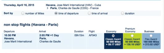 You can use Flying Blue Miles to fly from Paris to Havana on Air France