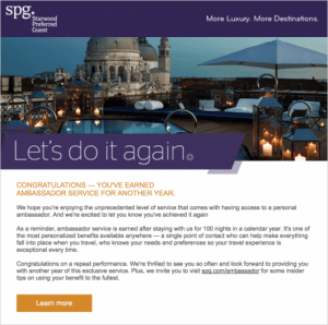 With over 100 nights, I made SPG Ambassador status for another year.