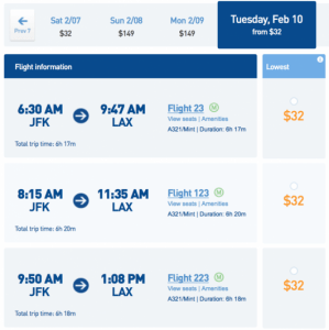 Fly from New York (JFK) to Los Angeles (LAX) for $32!