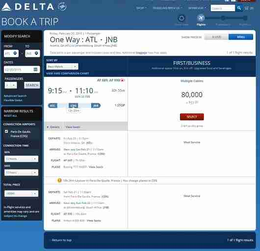 While there are few days when you can book Delta partner awards between Atlanta and South Africa, the journey is twice as long as Delta