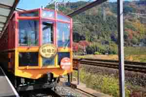 The Sagano Steam train offers beautiful views in spring, summer and autumn. Photo courtesy of Shutterstock.