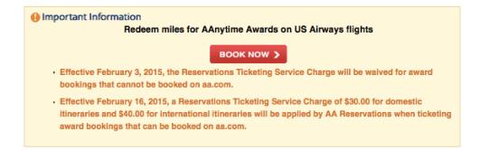 AA Award fees