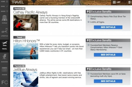 FoundersCard Travel Benefits