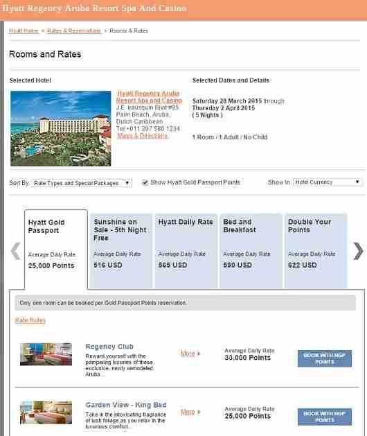 The Hyatt Regency Aruba is showing award availability during Spring Break.