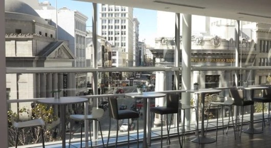 The high-top tables at Kombu Kitchen in San Francisco give you a view of downtown