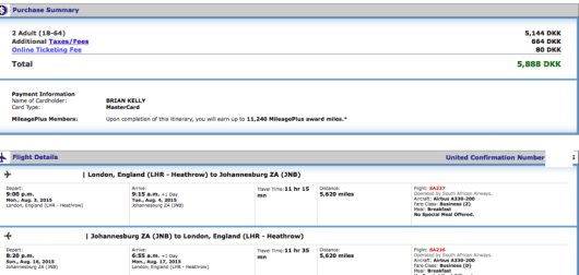 London to Johannesburg for $447 per person!