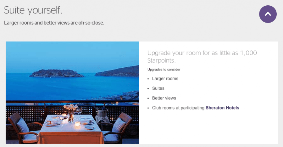 SPG gives you several upgrade options, though you will have to call to book one.
