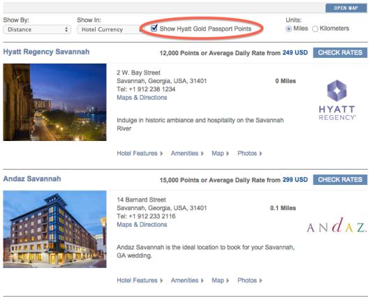 Hyatt Savannah search results