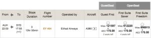 Etihad A380 AUH-SYD