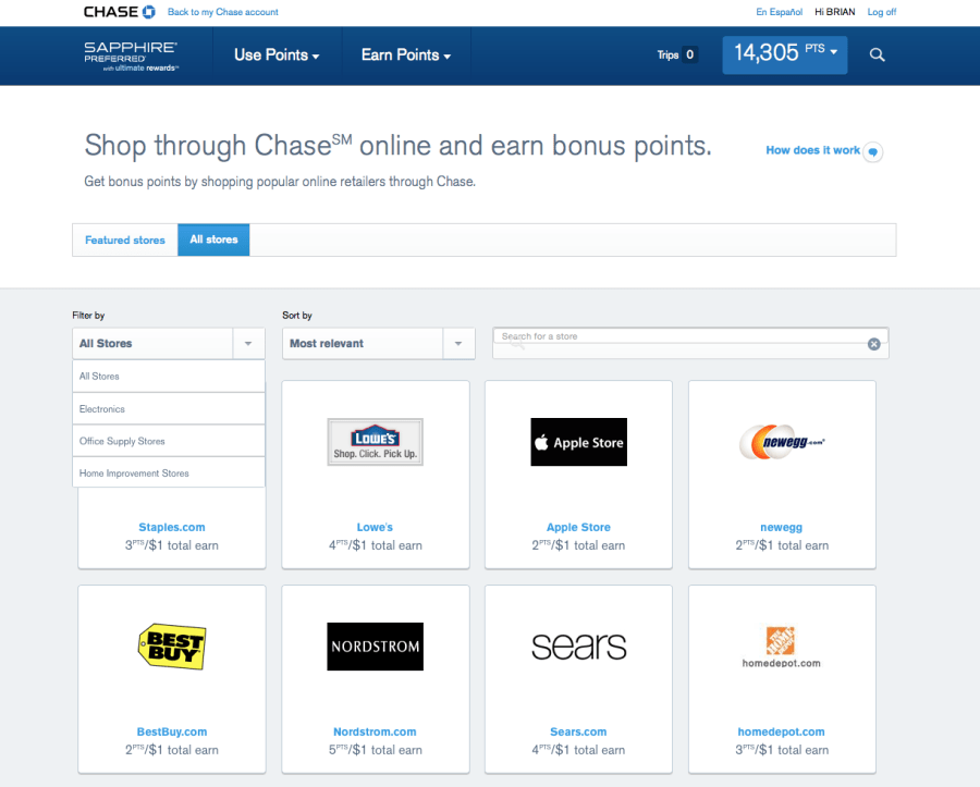 All travel sites are no longer available through the Chase Ultimate Rewards shopping portal