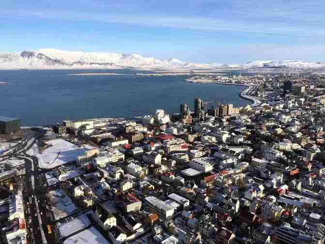 Reykjavik from above on a helicopter tour