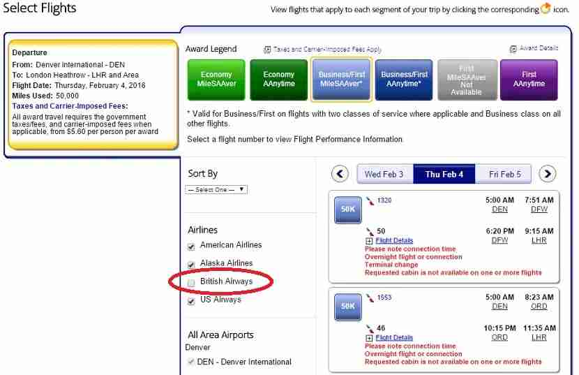 By deselecting British Airways from your search results, you can avoid their fuel surcharges.