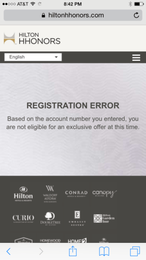Hilton 100k error message