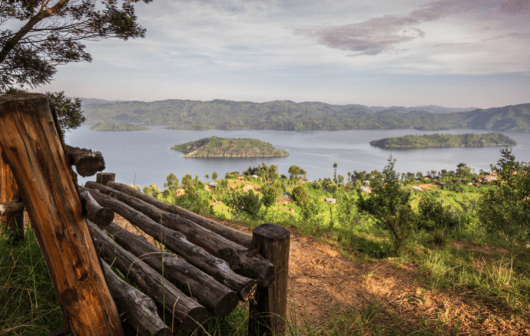 Overlooking Lake Bulera in Volcanoes National Park. Photo credit: Volcanoes Safaris.