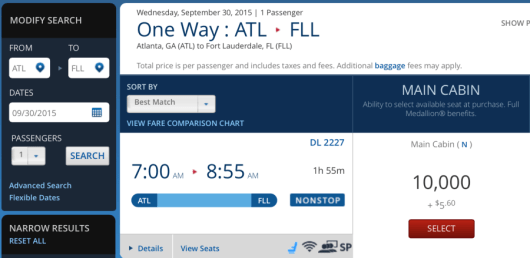 Delta is now offering one-way awards for 10,000 miles each on select routes.