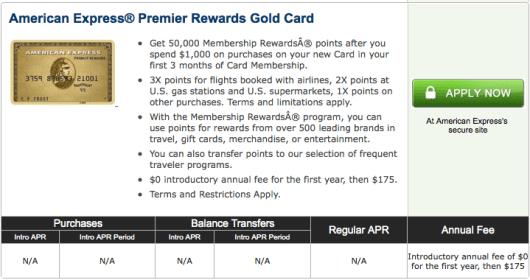 American Express Premier Rewards Gold 50,000 offer through CardMatch