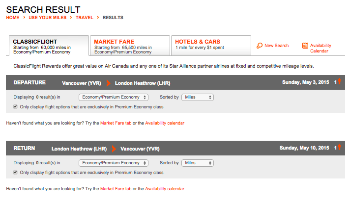 ClassicFlight availability is non-existent for most itineraries between April and the end of June 2015, including May 3-10