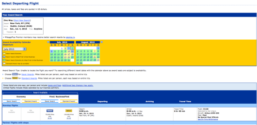 United.com will display Aer Lingus award availability...and all United's other partners' awards as well.