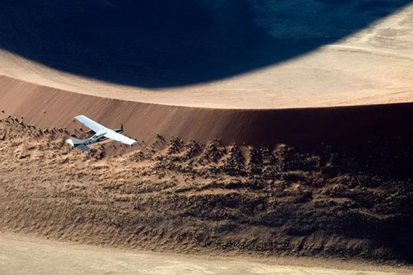 Flying over Namibia's Skeleton Coast. Photo credit: Skeleton Coast Safaris.