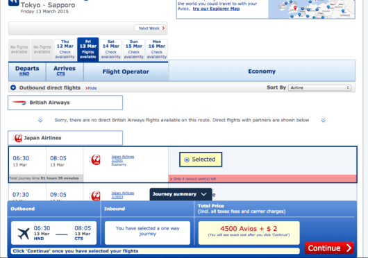 I can fly the popular Tokyo-Sapporo route in peak ski season for only 4,500 avios and $2.